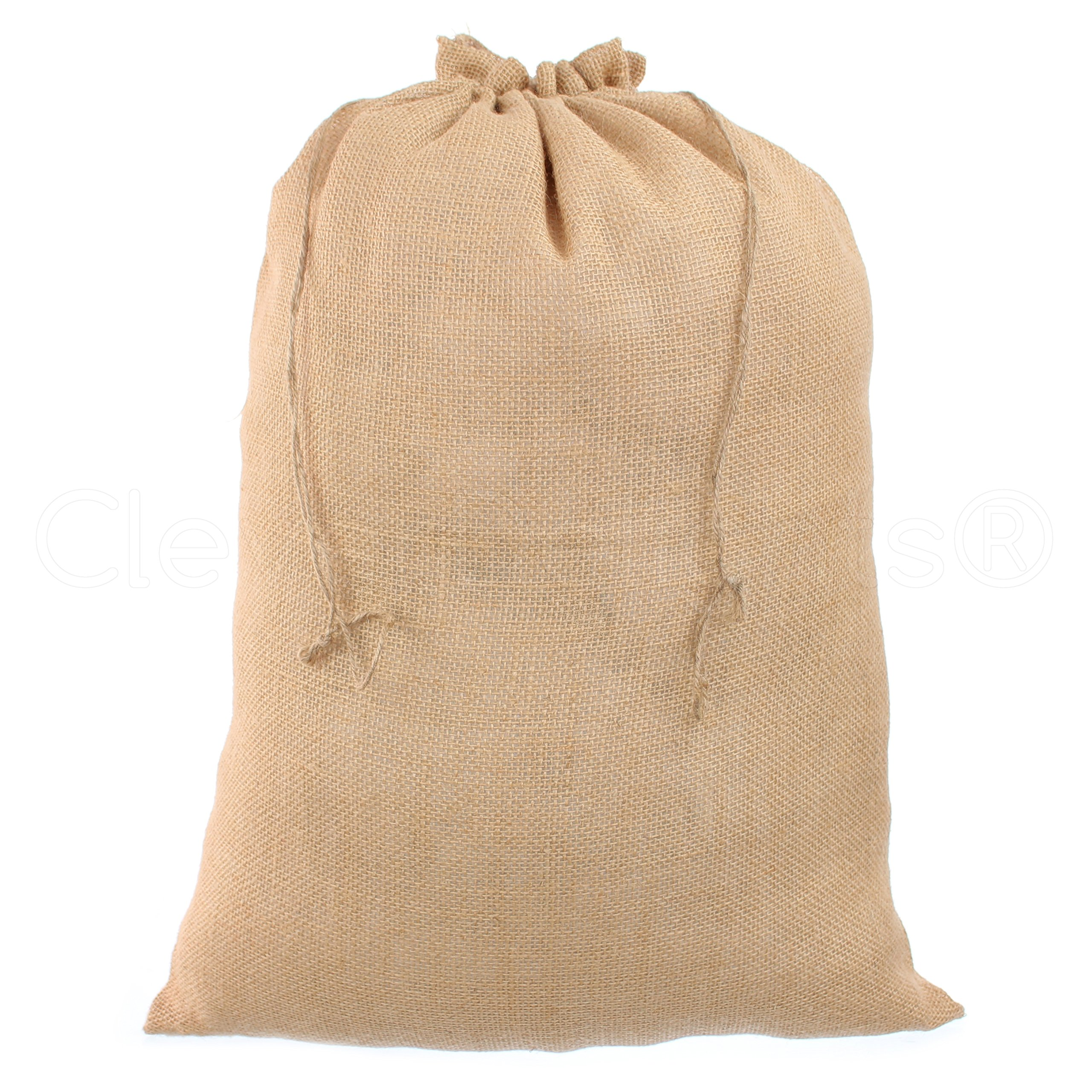 CleverDelights 18 X 24 Burlap Bags With Natural Jute Drawstring