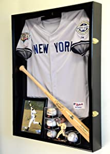 Extra Deep Jacket, Uniform, Jersey Shadow Box Display Case Cabinet w/98% UV Protection, Black