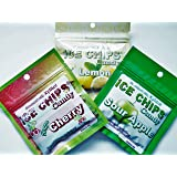 New! Ice Chips Candy in Resealable Packets, 3 Pack Variety: Sour Apple, Sour Cherry & Lemon
