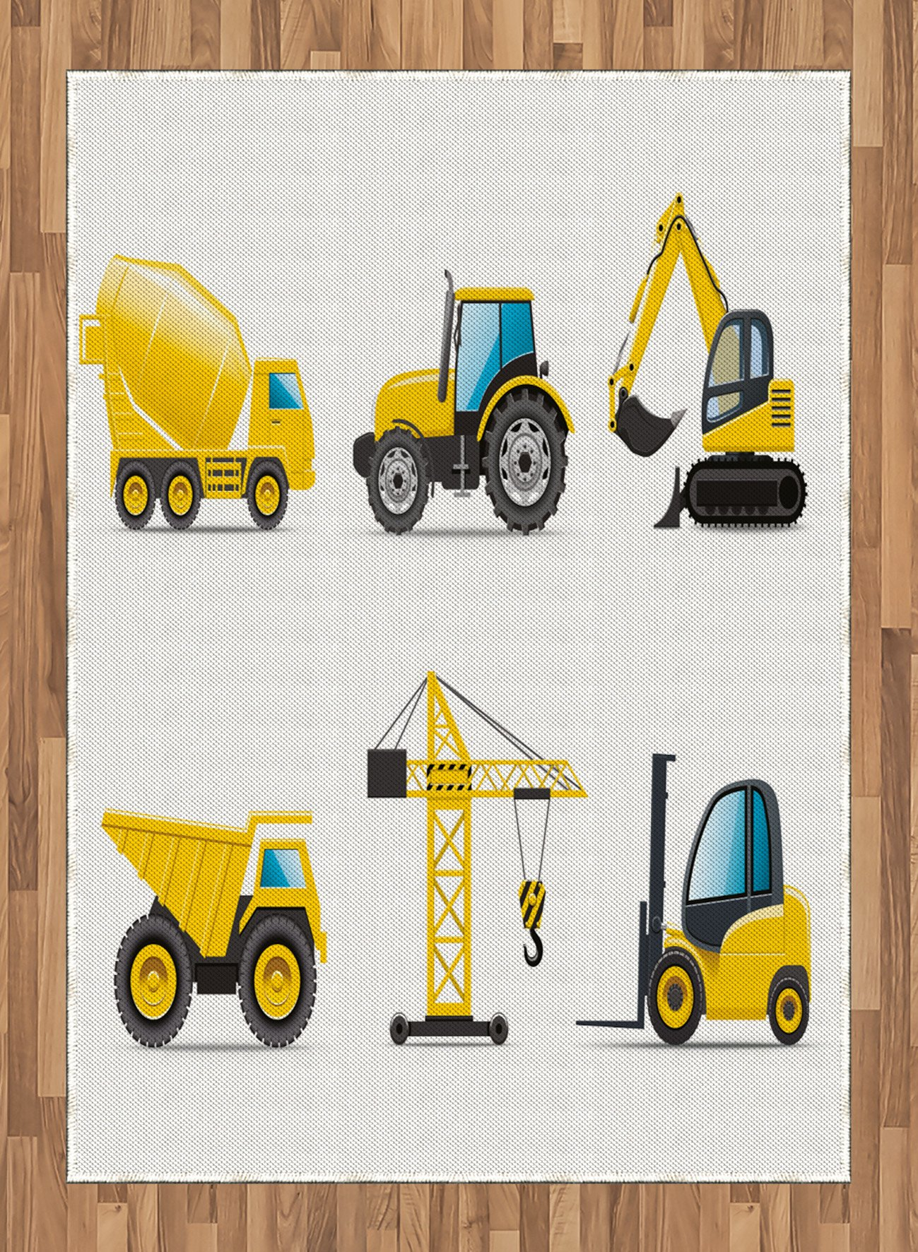 Boy's Room Area Rug by Lunarable, Cartoon Heavy Machinery Truck Crane Digger Mixer Tractor Construction Print, Flat Woven Accent Rug for Living Room Bedroom Dining Room, 5.2 x 7.5 FT, Black Yellow