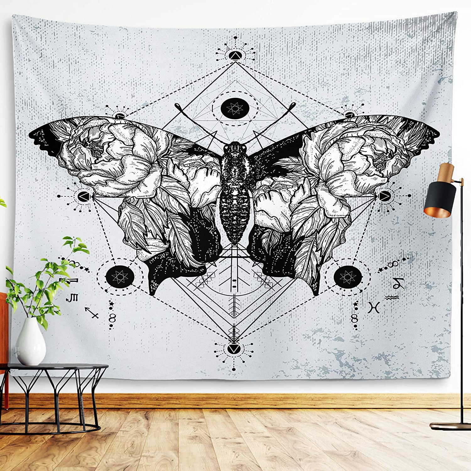"""Butterfly Tapestry Insects And Moths Wall Hanging Black And White Gothic Biology Entomology Wall Decor Grunge Moth Tattoo Wiccan Dragonfly Beetle Spider Witchy Tarot Bohemian Goth Tapestry For Living Room Bedroom College Dorm Room (Butterfly, 51""""59"""")"""