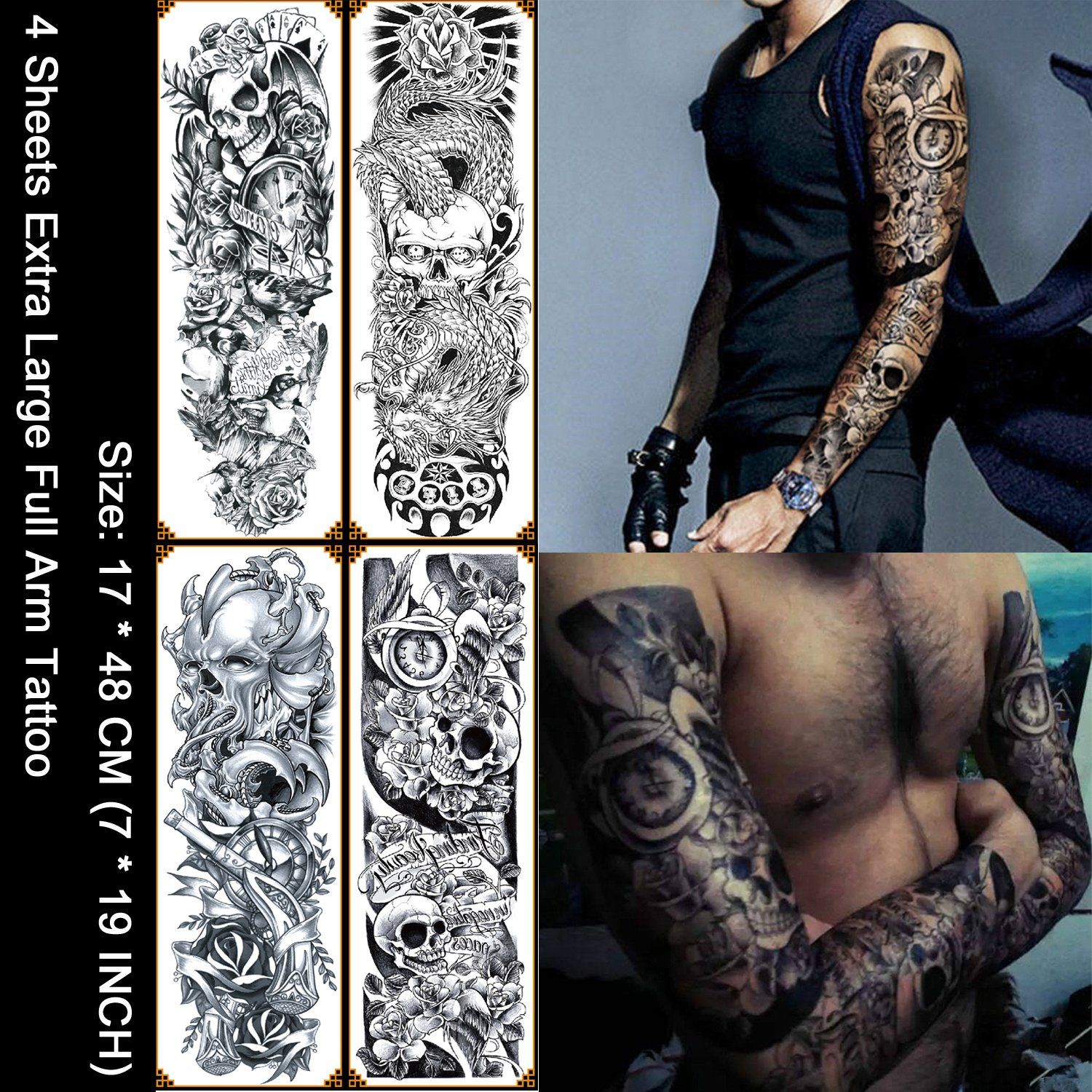 Kotbs 4 Sheets Large Waterproof Full Arm Tattoo Sticker Skull Rose Fake Tattoos Sleeve Temporary Tattoo Body Art For Men Women
