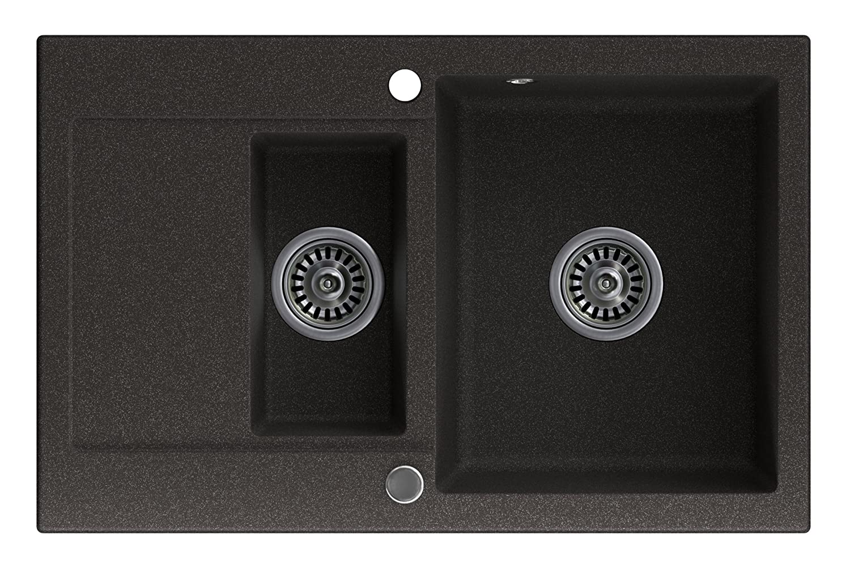 Granitspüle Sevilla, graphit, 1,5-kammerig, mit automatischem Siphon, ein umkehrbares Spülbecken, für den Schrank ab 60 cm, Granit spüle, Granitspülen, Spülbecken, Waschbecken, Küchenspüle