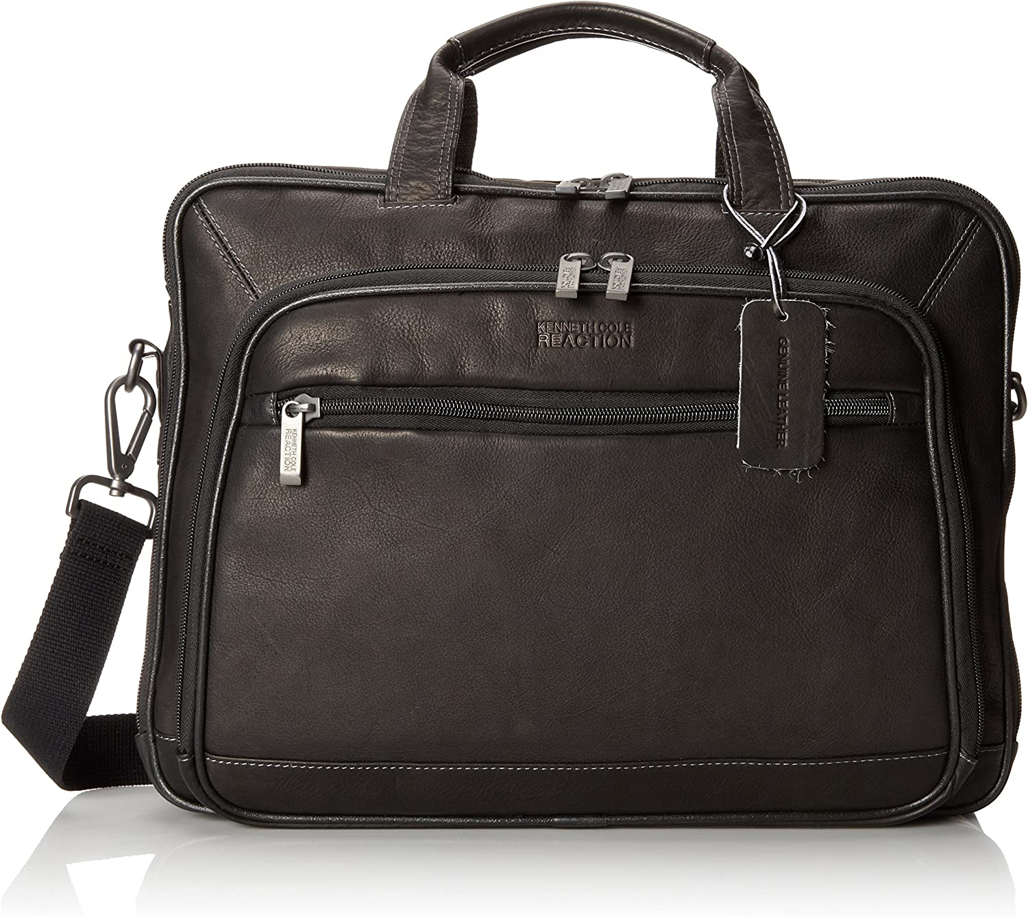 Kenneth Cole Reaction Colombian Leather Dual Compartment Top Zip 16