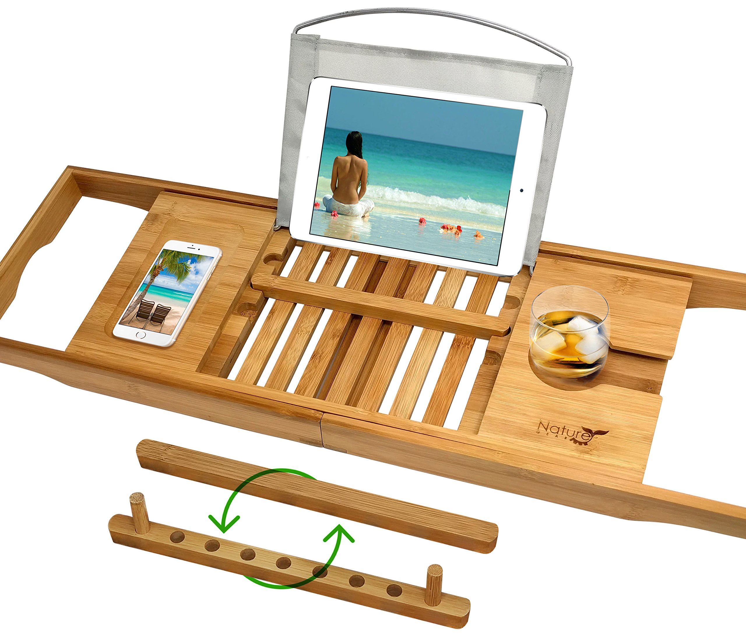 UPGRADED 2019 Bamboo Premium Luxury Bath Caddy - Holds Any Book, Magazine, Tablet or Smartphone - Bathtub Tray with Extending Arms