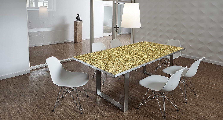 Design-Tisch / Schreibtisch / hochwertige Tischplatte / Esstisch / Arbeitstisch / Bürotisch / Goldoptik / DIY / in zwei Größen erhältlich / ab 399 Euro / (Mit Tischuntergestell Edelstahl, 200x100 cm)
