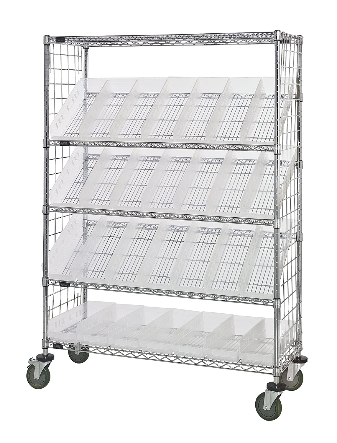 """B008I8B1A4 Quantum Storage Systems WRCSL5-63-2448EP-106CL 5-Tier Slanted Wire Shelving Suture Cart with 28 QSB106 Clear-View Economy Shelf Bins, Enclosed, 2 Horizontal and 3 Slanted Shelves, Chrome Finish, 69"""" Height x 48"""" Width x 24"""" Depth 9155j3oA2HL._S"""