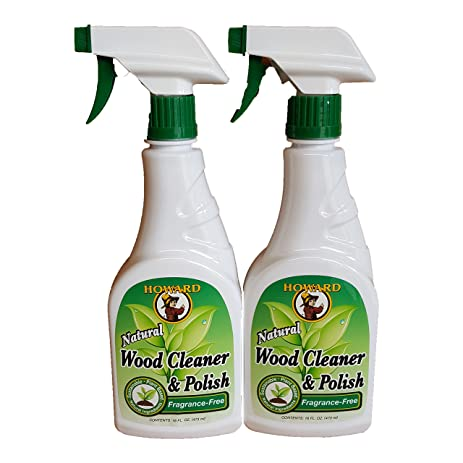 Howard Natural Wood Cleaner And Polish 16 Ounce X 2 Bottle Fragrance Free,  Clean And