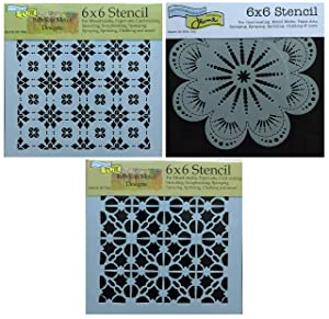 3 Crafters Workshop Stencils | Talavera, Mexican, Moroccan Tile Designs | Mixed Media Stencils Set Includes 6 Inch x 6 Inch Templates for Painting, Arts, Card Making, Journaling, Scrapbooking