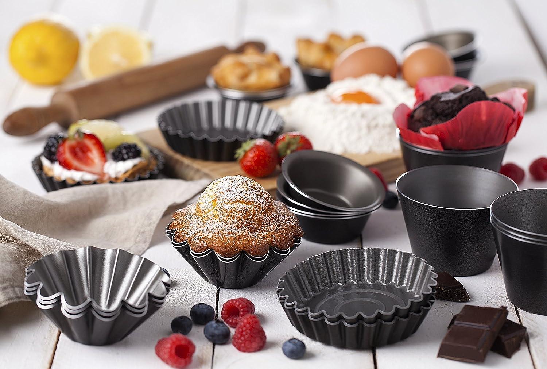 Paquete de 6 moldes Flanero Ideal para brioche, suflés, magdalenas,Muffins, pasteles y Puds | antiadherentes de 8 cm: Amazon.es: Hogar