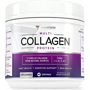 Multi Collagen Peptides Powder: 40 SRV Hydrolyzed Collagen Protein from Natural Grass-Fed Beef, Wild Marine Fish, Chicken and Eggshells, Type I II III V X ...