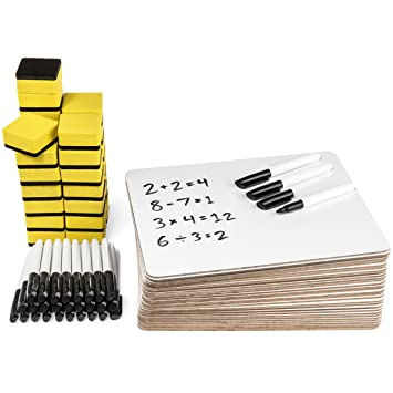 Blue Summit Supplies 30 Pack Dry Erase Lapboard Classroom Set, Includes 30 Whiteboards 9 X 12 Inch, 30 Markers, 30 Erasers, Ideal For Teachers, Students, Sunday School, Group Participation by Blue Summit Supplies