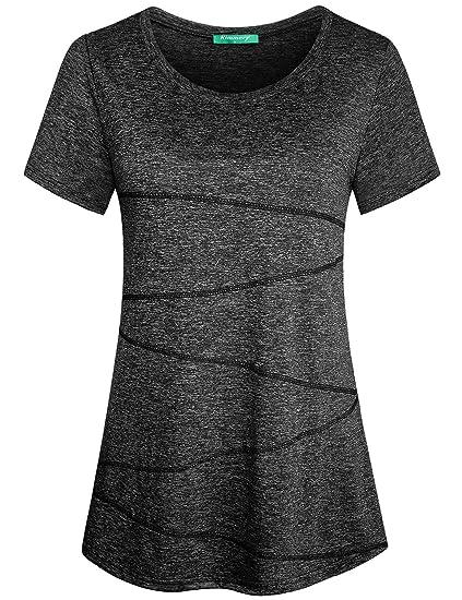 e08231777 Kimmery Yoga Wear for Women Ladies Fitness Short Sleeve Basic Breathable  Shirt Slim Fit Running Gym