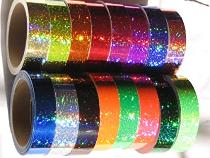 1 inch x 25 ft Sparkle 16 Different Color Holographic Glittering Sequins Tapes