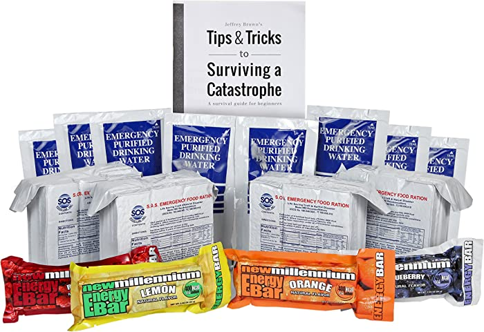 S.O.S. Rations Emergency 3600 Calorie Food Bar - 3 Day / 72 Hour Package with 5 Year Shelf Life W/water and Millenium bars (jeff browns tips)