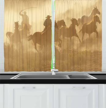 Western Kitchen Curtains By Ambesonne, Galloping Running Horses In Desert  Two Cowboys Roping Dusty Wild
