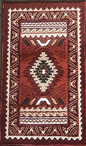 Southwest Native American Door Mat Area Rug Rust Terra Cotta Burgundy Green Beige Design D143 (2 Feet X 3 Feet 4 Inch)