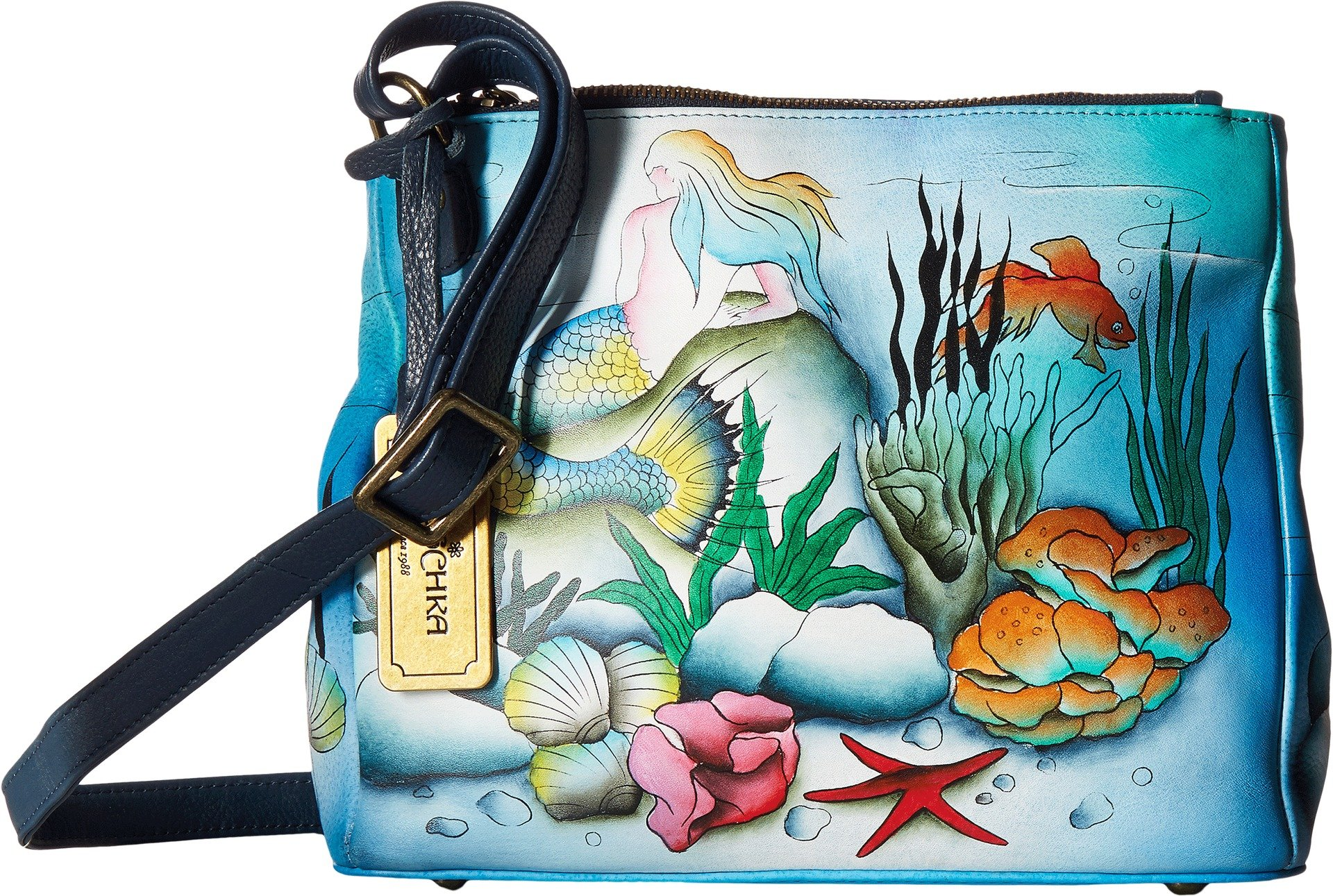 Anuschka Handbags Women's 525 Triple Compartment Convertible Tote Little Mermaid Crossbody Bag