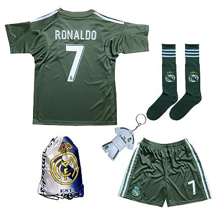 2017 2018 Real Madrid Ronaldo  7 Green Soccer Kids Jersey   Short   Sock 4925927f0