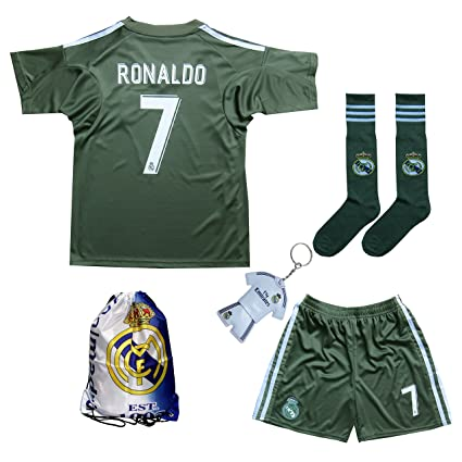 90cc52e93ac 2017/2018 Real Madrid Ronaldo #7 Green Soccer Kids Jersey & Short & Sock
