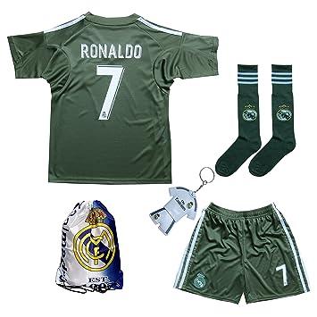 3336276da 2017 2018 Real Madrid RONALDO  7 Green Soccer Kids Jersey   Short   Sock