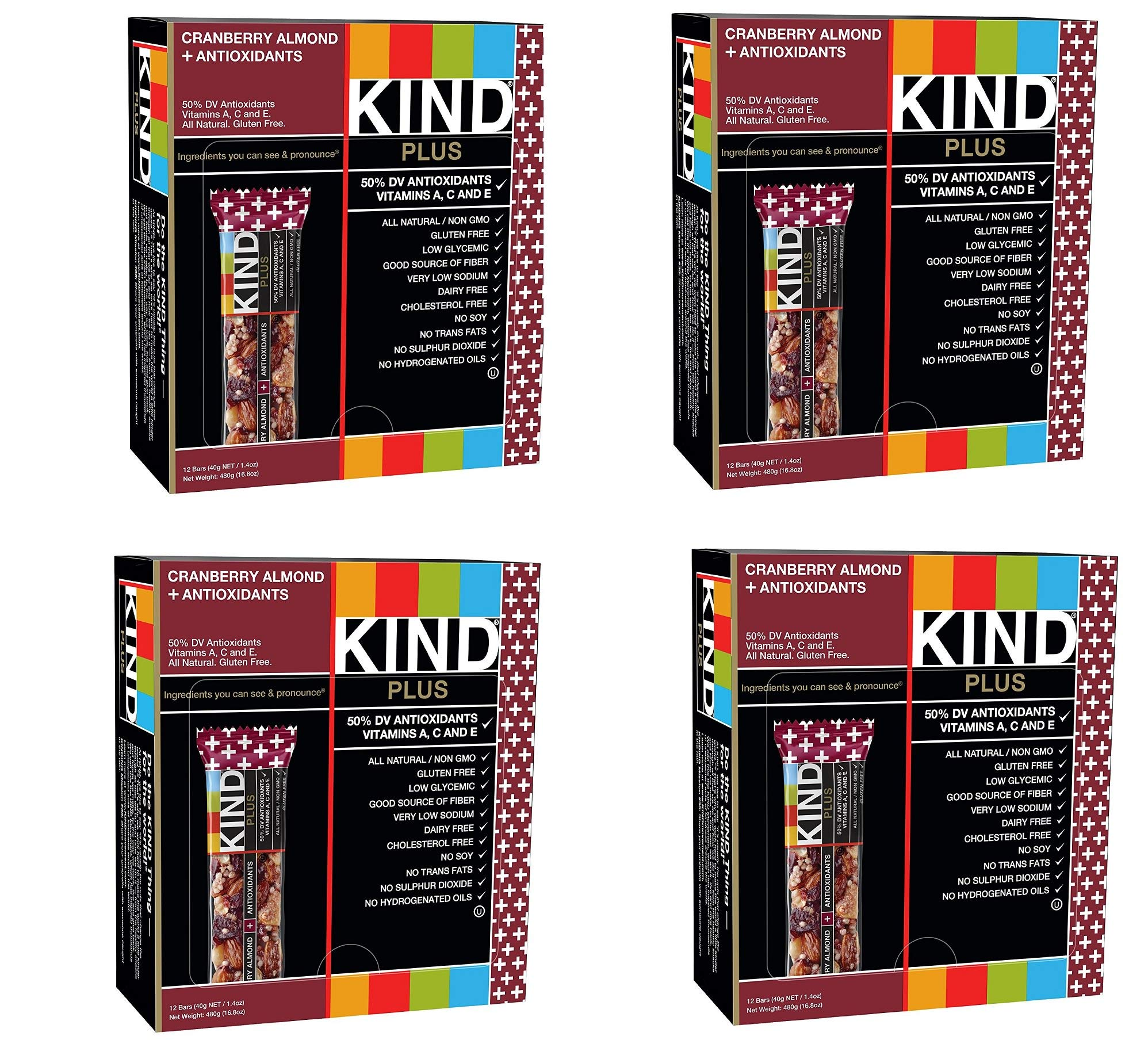 KIND Bars, Cranberry Almond plus Antioxidants with Macadamia Nuts, Gluten Free, Low Sugar, 1.4oz, 48 Bars