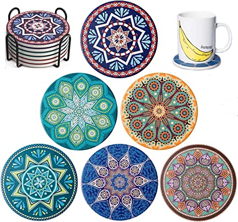 6 Piece Coasters for Drinks Absorbe Ceramic Cosaters Cork Base 4 Inch Suitable for Mugs Cups Funny for Kitchen Room Bar Decor