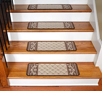 Carpet Stair Treads   Caramel Scroll Border