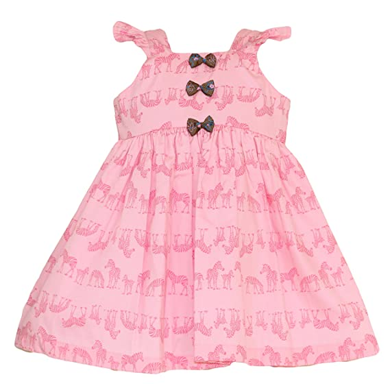 31c8e0191cec6 Mom's Girl Baby Pink Zebra Printed Frock with Bows (4-5 Years ...