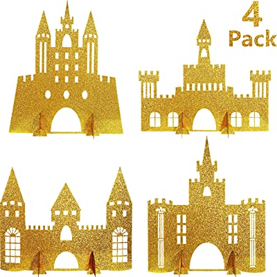 4 Pieces Gold Castle Table Centerpiece Glitter Princess Theme Castle Centerpiece for Birthday Baby Shower Princess Party Table Decorations: Health & Personal Care