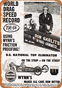 Vintage Decorative Metal Signs 1965 Don Garlits World Drag Speed Record Metal Tin Sign Wall Decor 12 X 18 Inches
