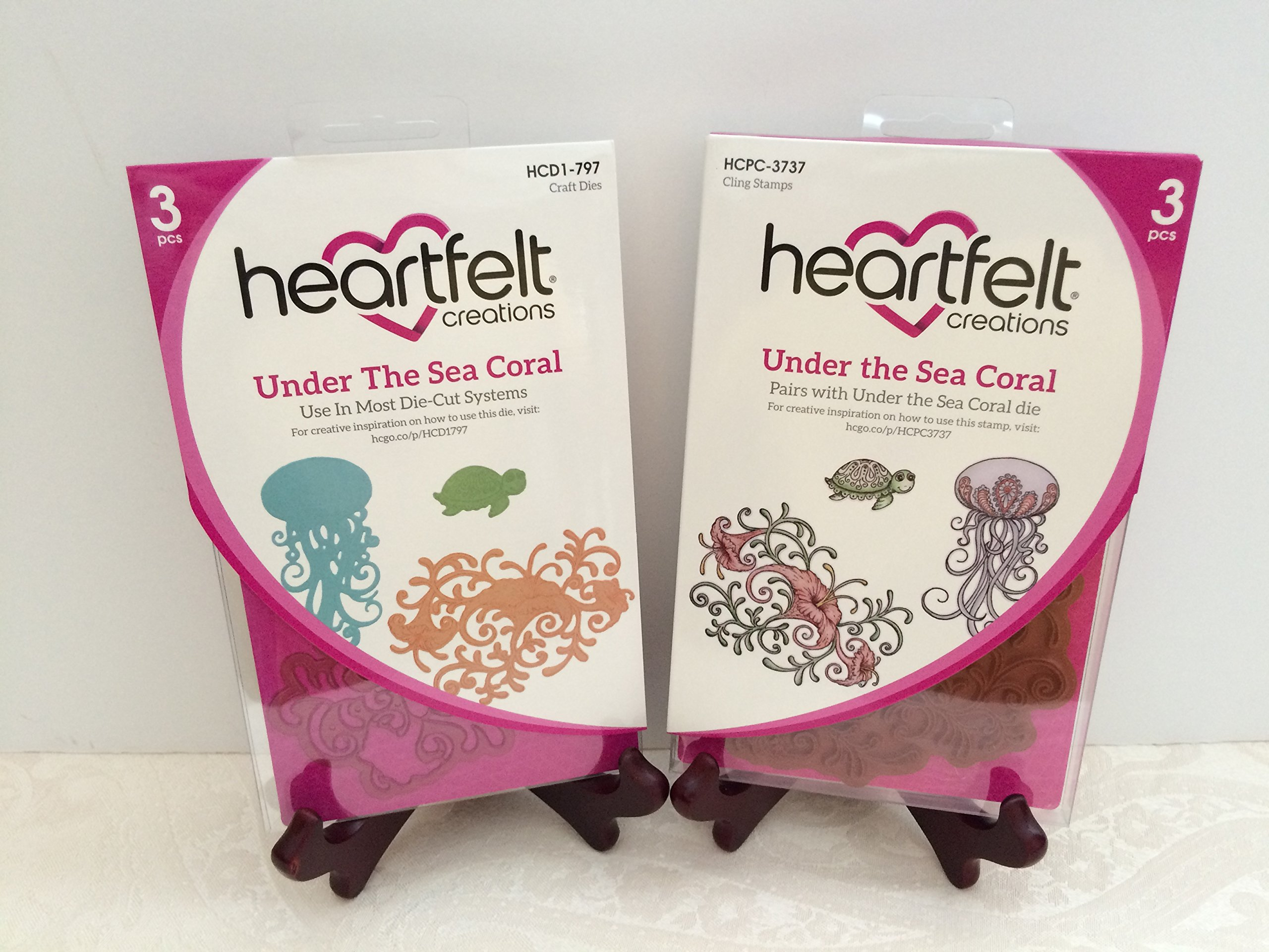 Heartfelt Creations Bundle Dies+Stamp Under The Sea Coral, HCD797+HCPC3737