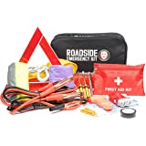 Roadside Assistance Auto Emergency Kit + First Aid Kit Jumper Cables, Tow Rope, LED Flash Light, Rain Coat, Tire Pressure Gauge, Safety Vest & More Ideal Winter Accessory For Your Car, Truck Or SUV