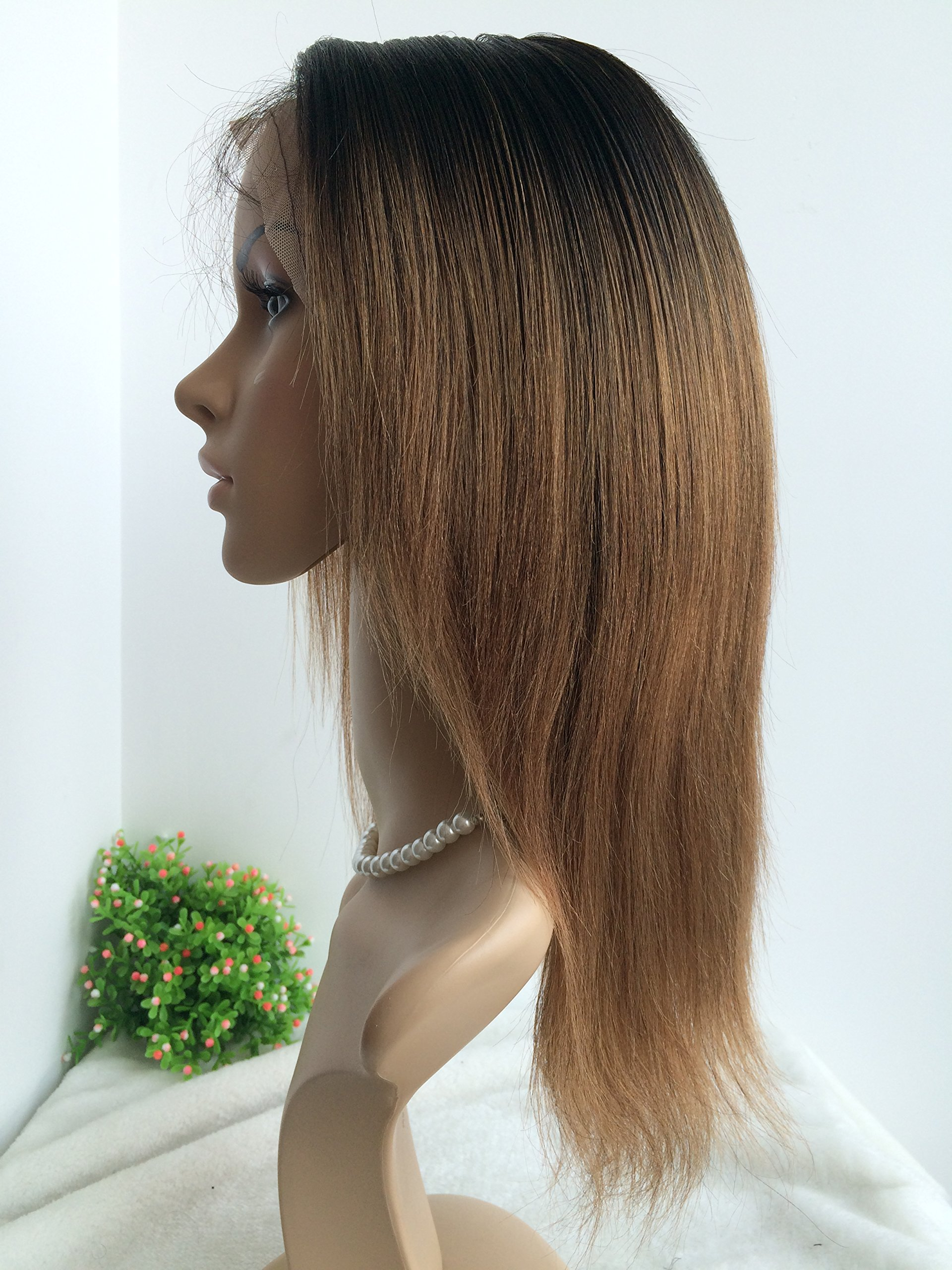 CHINESE VIRGIN 10 INCH,LIGHT YAKI,FULL LACE WIGS SILK TOP,BLEACHED KNOTS--hot sale product!!! by April silk top wigs (Image #2)