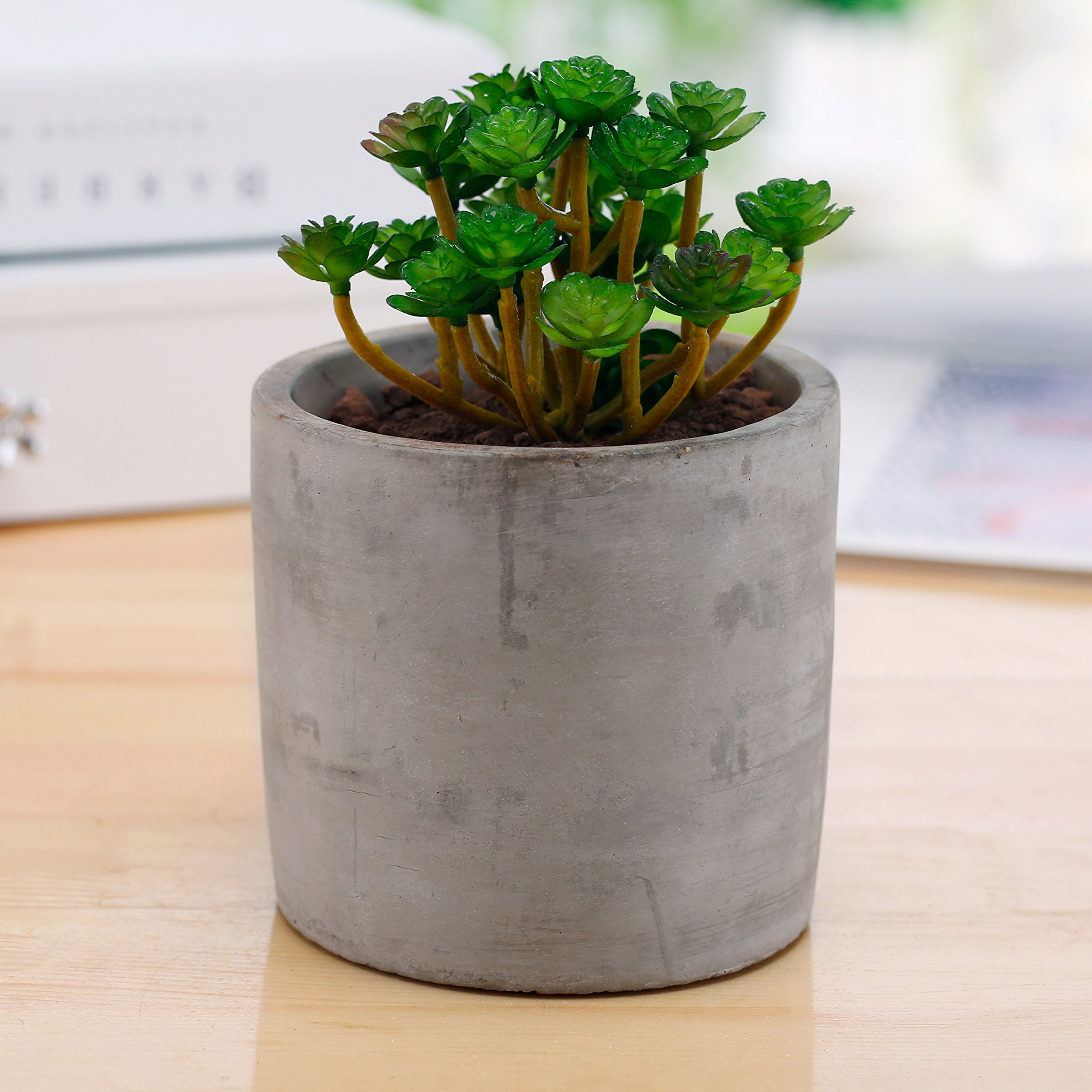Miniature 4-inch Round Flower Plant Clay Planter Pot, Gray