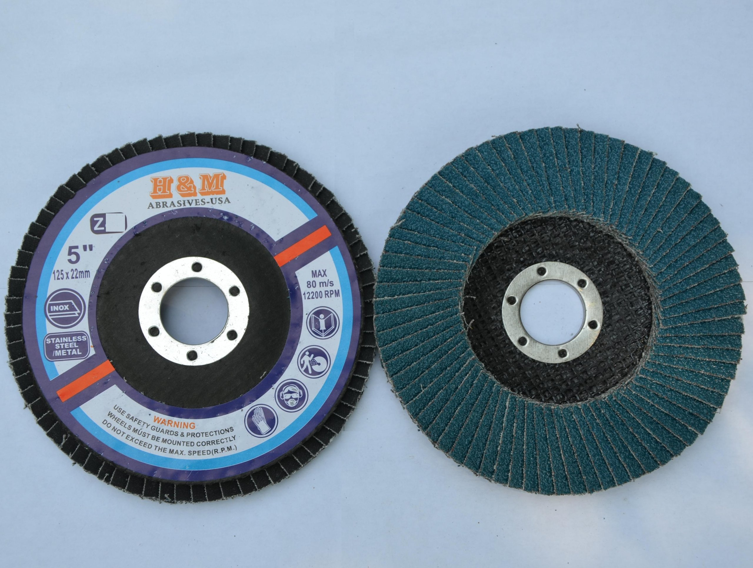 10pcs Premium FLAP DISCS 5'' x 7/8'' Zirconia 60 grit Grinding Wheel grinder tool by H&M ABRASIVES-USA