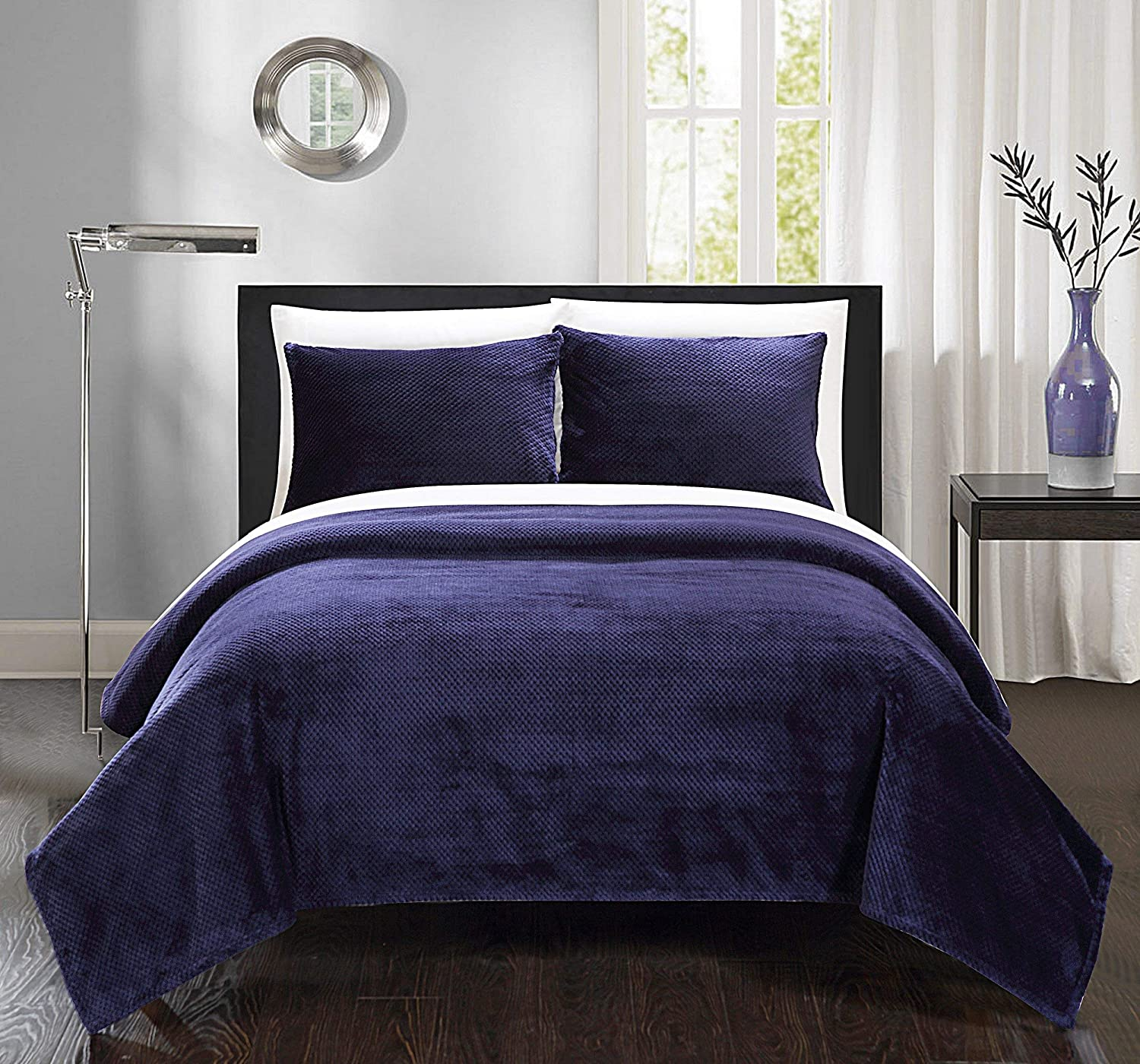 Chic Home SB1676-AN 3 Piece Luxembourg Blanket and Shams Set King Navy