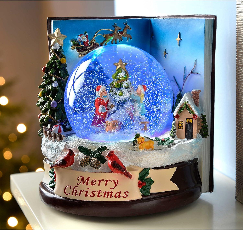 multicolore decorazione natalizia WeRChristmas-165-Palla di vetro con neve e bambini che cambia colore colore