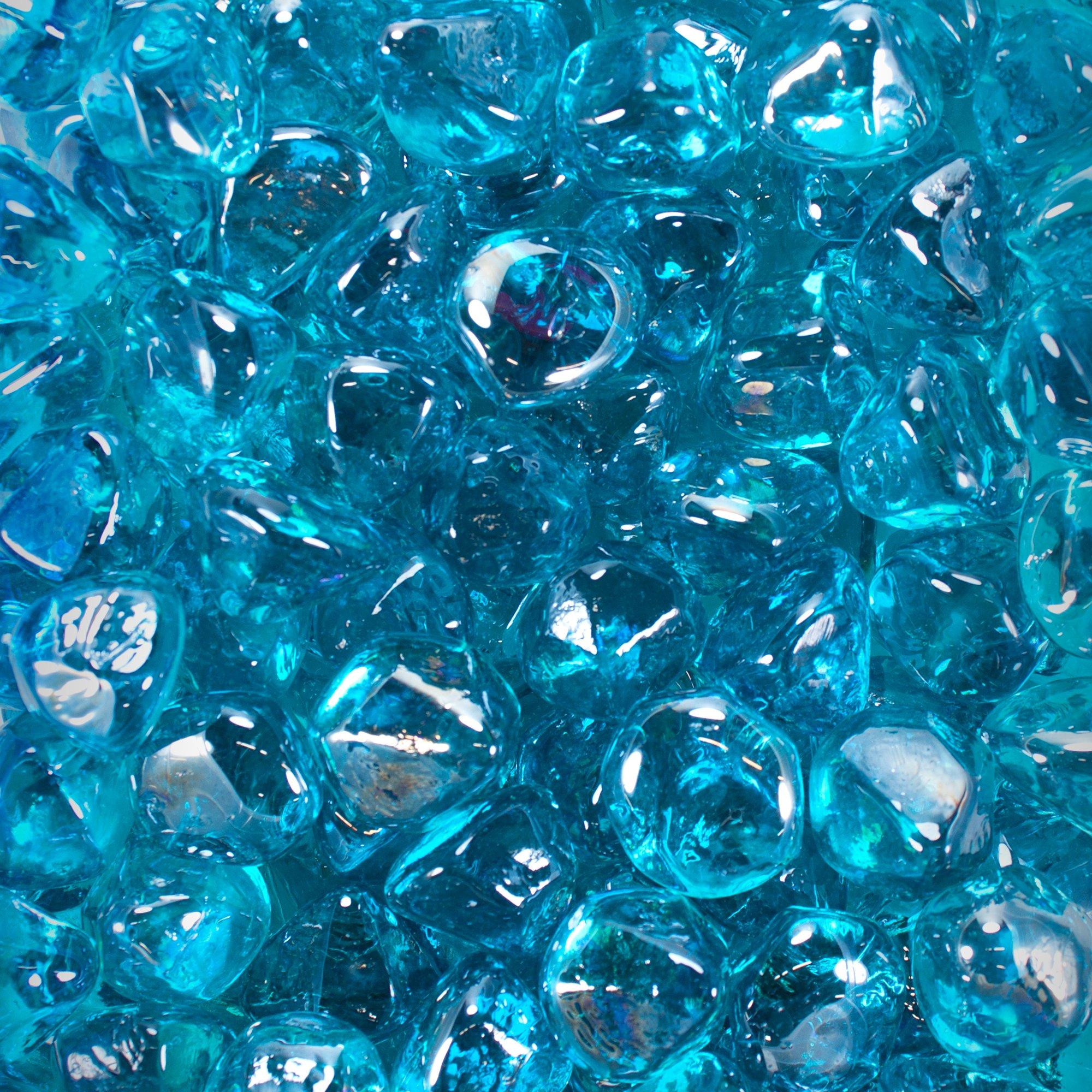 Celestial Fire Glass Diamonds - Tropical Blue Luster | 10 Pound Jar