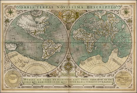 Amazon.com: Vintage Old World Art Map (Nautical) - 7x5in ...