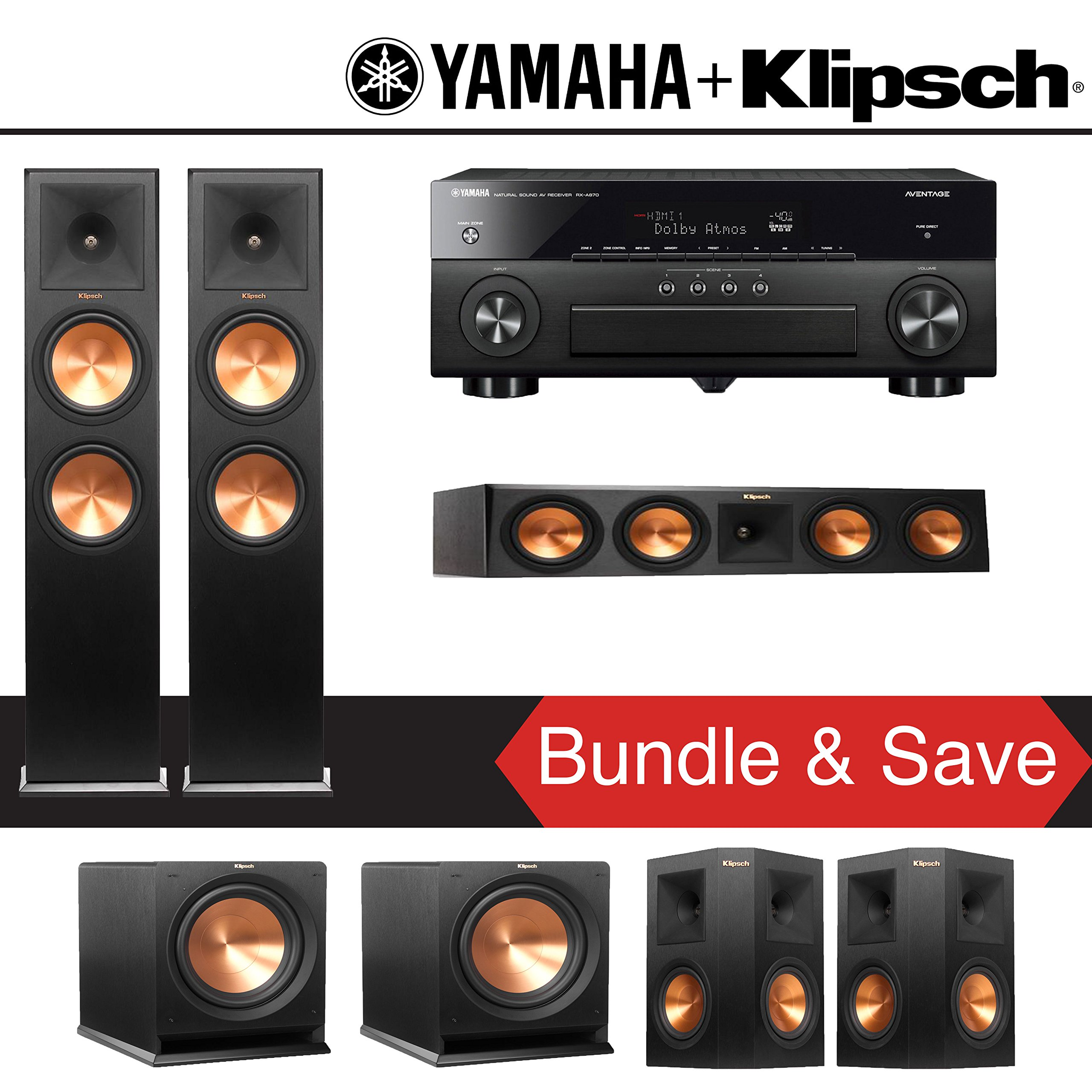 Klipsch RP-280F 5.2-Ch Reference Premiere Home Theater System with Yamaha AVENTAGE RX-A870BL 7.2-Channel Network AV Receiver