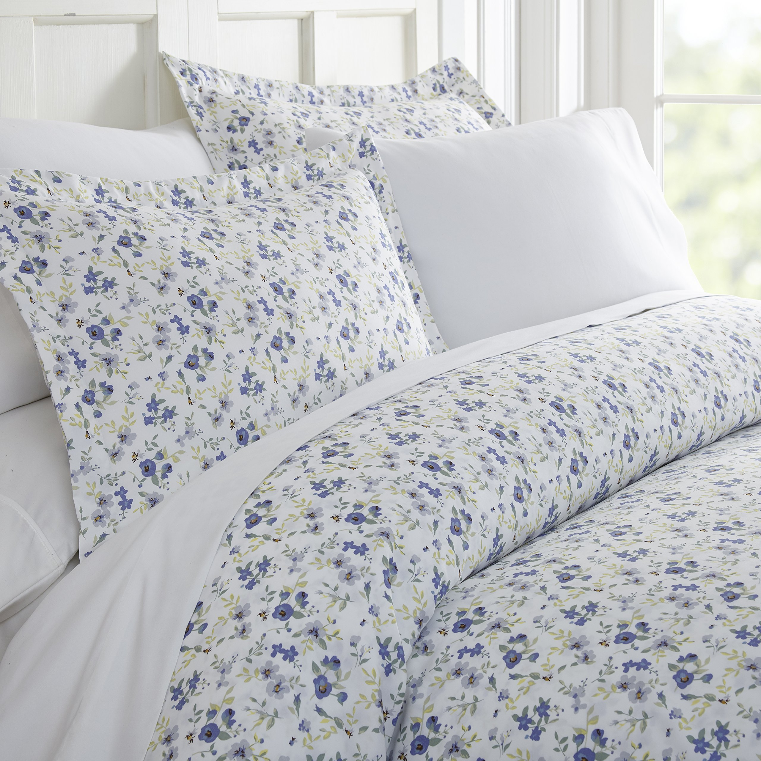 ienjoy Home Duvet Cover Set Blossoms Patterned KingLight Blue