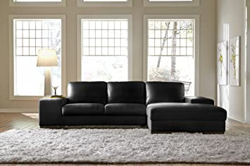 Amazon.com: Lazzaro Leather Black Leather Sectional Chaise ...