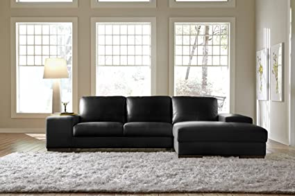 Amazon.com: Lazzaro Leather Black Leather Sectional Chaise Sofa ...