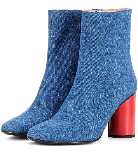 L&L Botas Impermeables de tacón Alto para Mujer Botas de Invierno de otoño Botas de Vaquero de Color Azul Claro Áspero con Botines Paño 8009FD: Amazon.es: ...