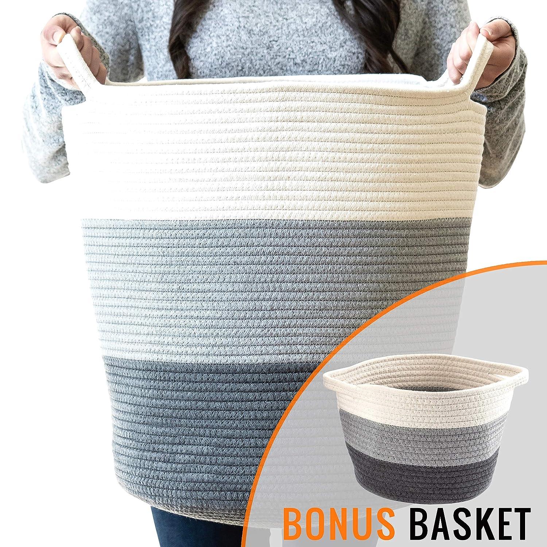 "Little Hippo 2pc Large Cotton Rope Basket (18""x16"") 100% Natural Cotton! Rope Basket, Woven Storage Basket, Large Basket, Blanket Basket Living Room, Toy Basket, Pillow Basket, Gray"
