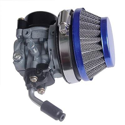 49cc 50cc 80cc 2 stroke Bicycle Bike Motorized Racing Carb Blue Carburetor Air Filter kit (Blue): Automotive
