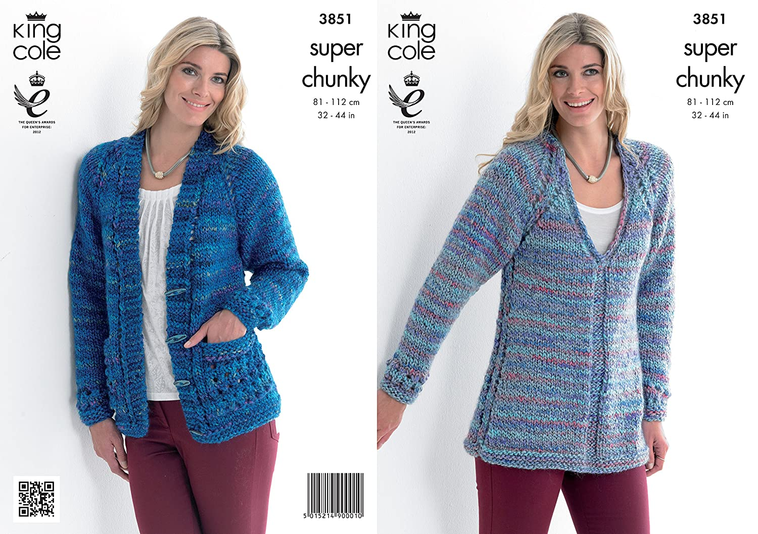 KNITTING PATTERN Ladies Long Sleeve Easy Knit Cardigans Super Chunky 4287