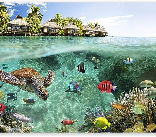 decomonkey D/éco Mural Tableaux Muraux Photo Nature Paysage Papier peint intiss/é Plage Mer 250x175 cm Trompe l oeil
