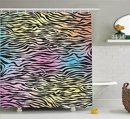 Mirryderr Zebra Print Decor Shower Curtain Set Colorful Pattern Wild Animal Wilderness Themed Stylized